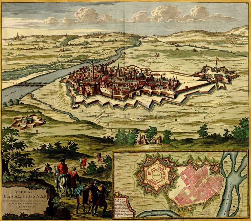 antykwarski miasto fortyfikująca mapa ilustracja wektor