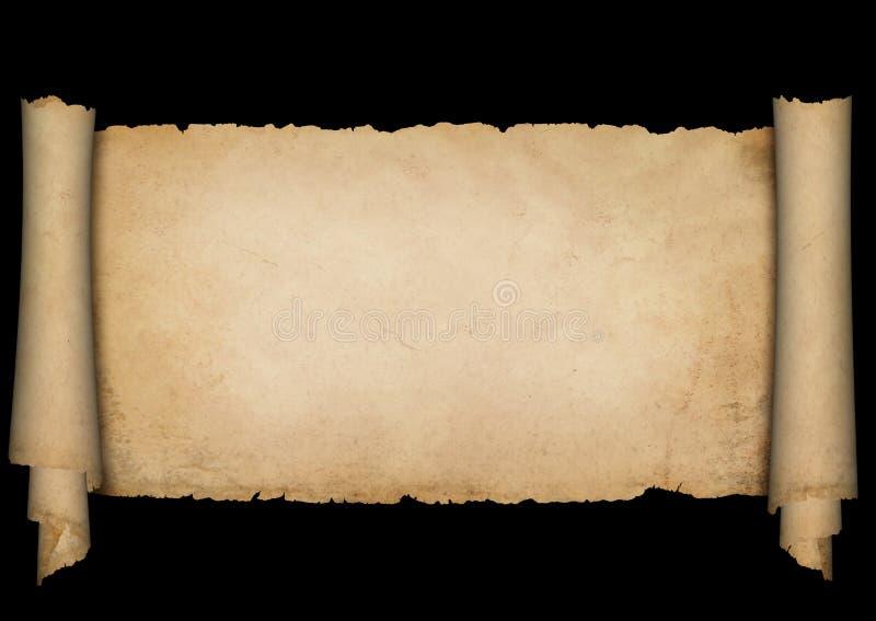 Antykwarski pergamin na czarnym tle royalty ilustracja