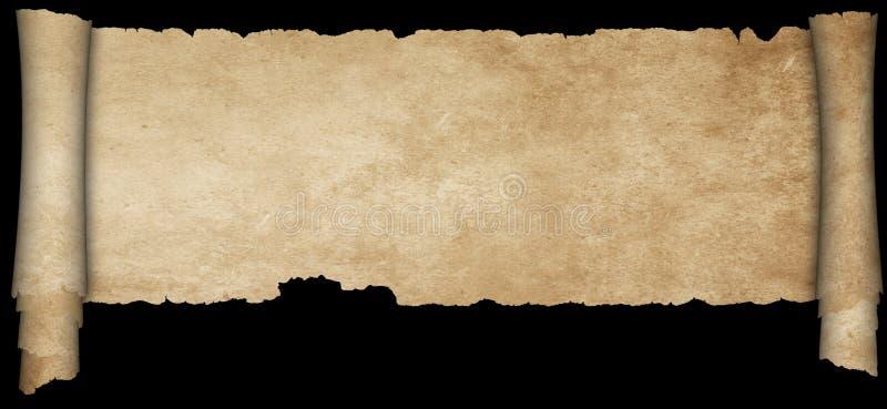 Antykwarski pergamin na czarnym tle ilustracji