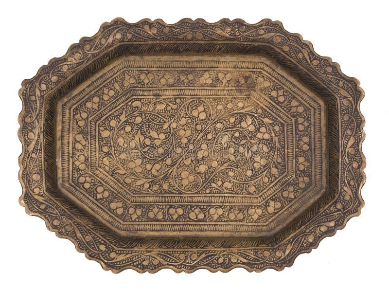 Antykwarski piękny metal malował talerza odizolowywającego na białym tle styl retro Rocznik obraz royalty free