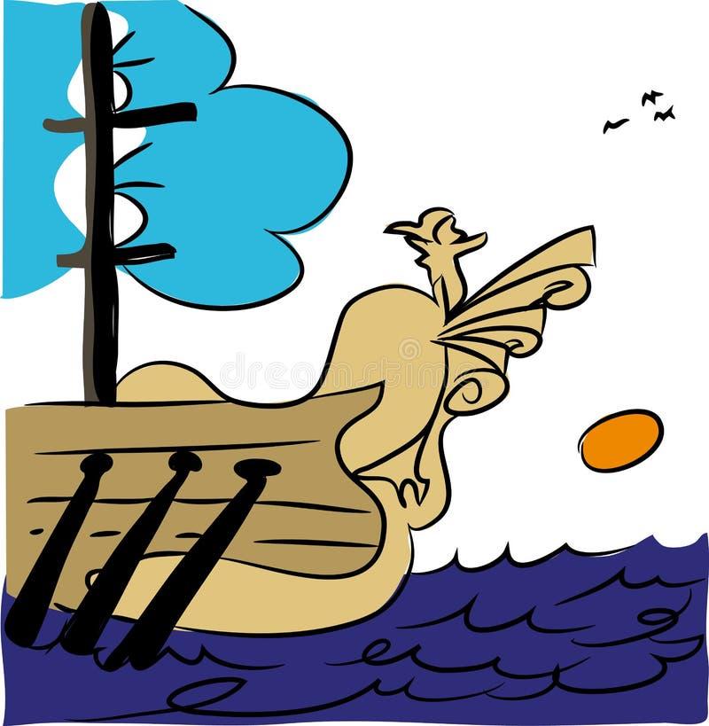 Antykwarski pirata statek ilustracja wektor