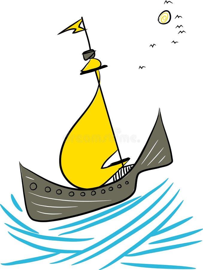 Antykwarski pirata statek ilustracji