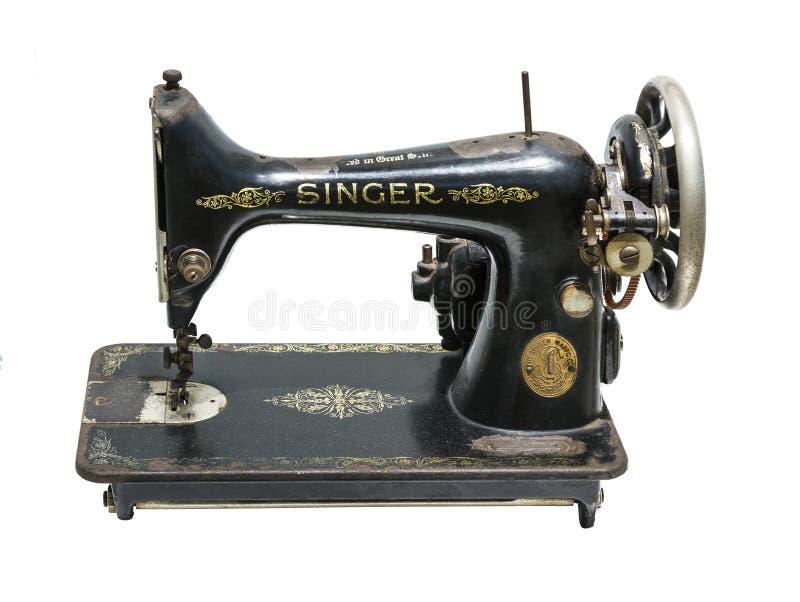 Antykwarski ręczny szwalnej maszyny firmy piosenkarz na białym tle zdjęcia royalty free
