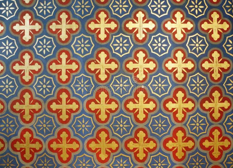 Antykwarski religijny ściana wzoru wystrój obrazy stock
