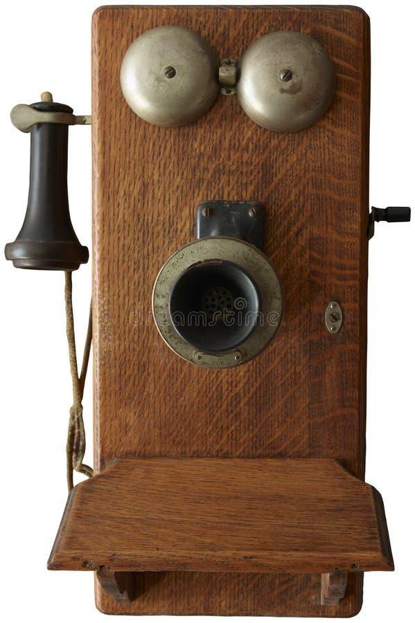 Antykwarski rocznik korby telefon Odizolowywający fotografia stock