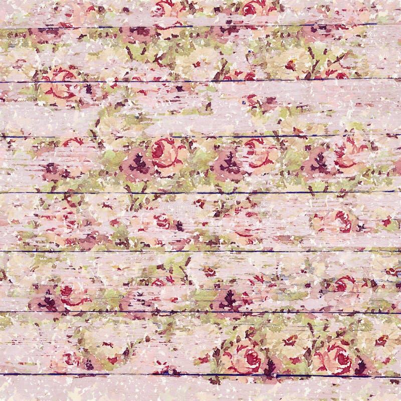 Antykwarski rocznik róż tło w nieociosanym spadku barwi na drewnianym tle ilustracji