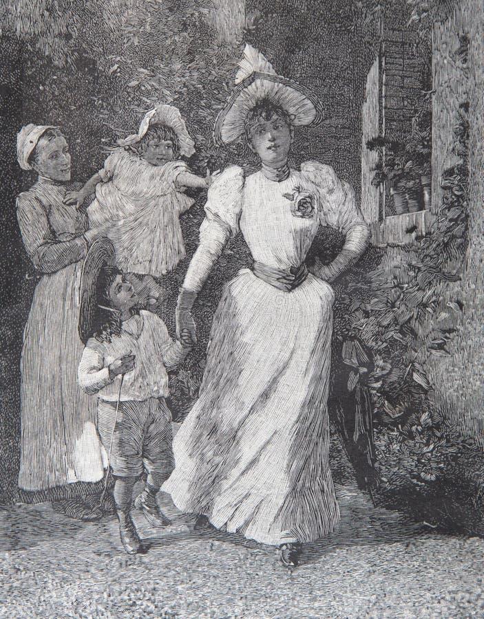 Antykwarski rytownictwo Albert Fourié obrazy stock