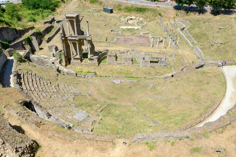 Antykwarski rzymski amfiteatr Volterra na Tuscany zdjęcia stock