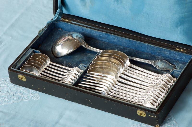 antykwarski silverware obraz stock