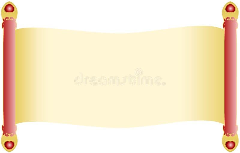 Antykwarski spojrzenie ślimacznicy papier z czerwonymi dowels rękojeściami dekorował z złotymi końcówkami i kierowymi krystaliczn ilustracji