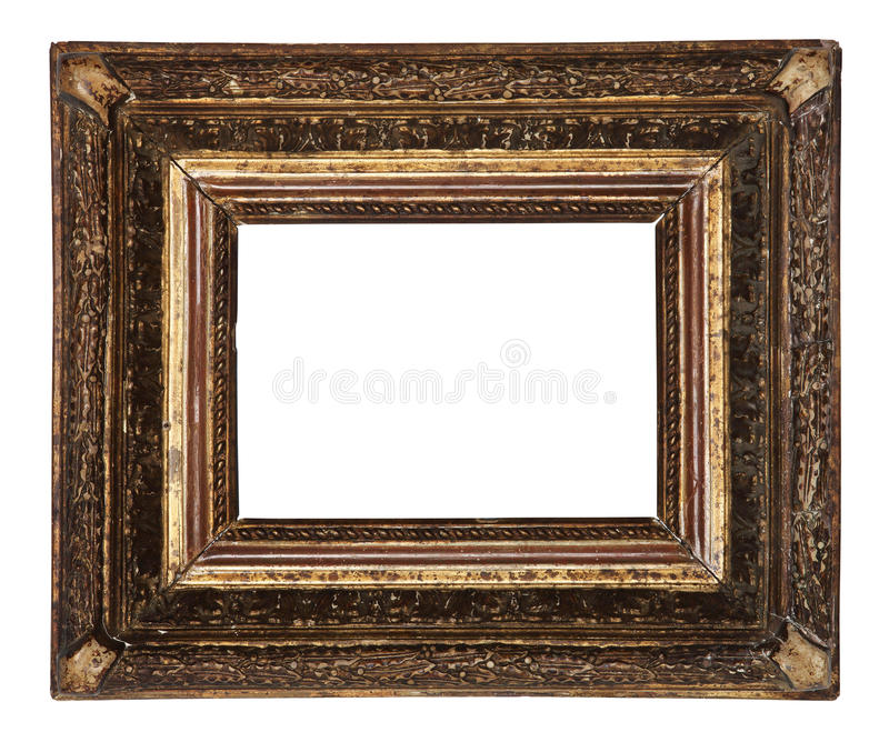 Antykwarski stary obrazek ramy drewniany ceramics odizolowywający na bielu obraz stock