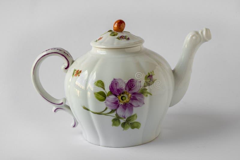 Antykwarski teapot, Nymphenburg porcelana, wokoło 1920 zdjęcia stock