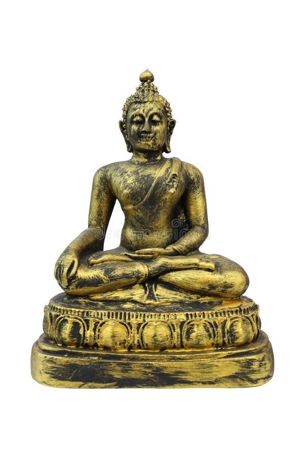antykwarski złocisty Buddha wizerunek odizolowywający na bielu zdjęcia stock