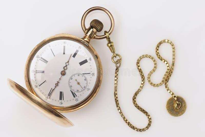 Antykwarski Złoty Kieszeniowy zegarek fotografia royalty free