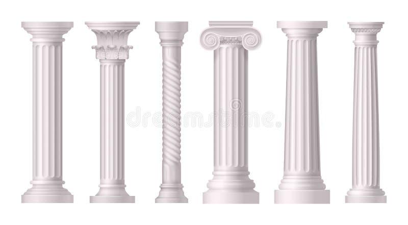 Antykwarskich Białych kolumn ikony Realistyczny set ilustracja wektor