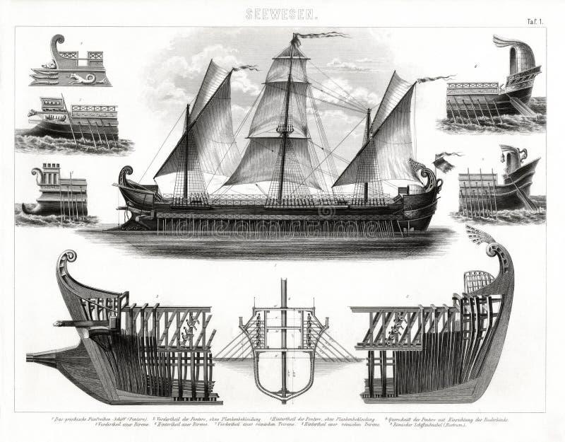 1874 Antykwarskich druków starożytnego grka Trireme okręt wojenny ilustracja wektor