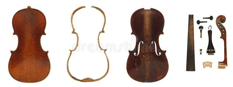 Antykwarskich skrzypcowych części pełny set obraz royalty free