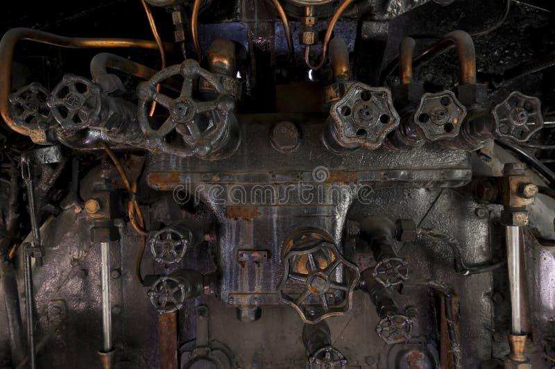 Antykwarskie parowej lokomotywy cocpit gałeczki fotografia royalty free