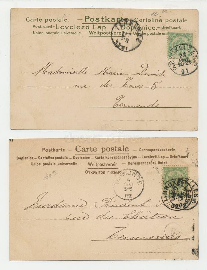 Antykwarskie pocztówki ustawiać dwa zdjęcia stock