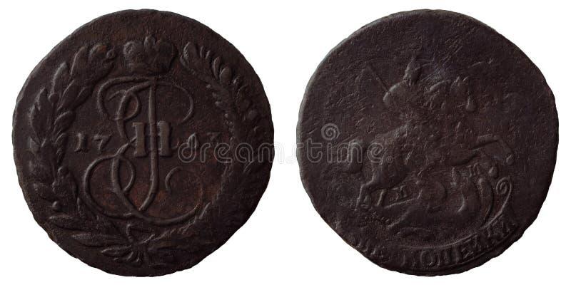 Antykwarskie rosjanin monety 2 kopiejki 1763 MM obrazy royalty free