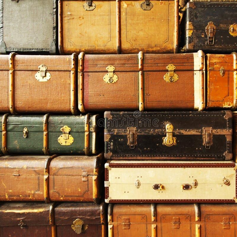 Antykwarskie rzemienne walizki obraz royalty free