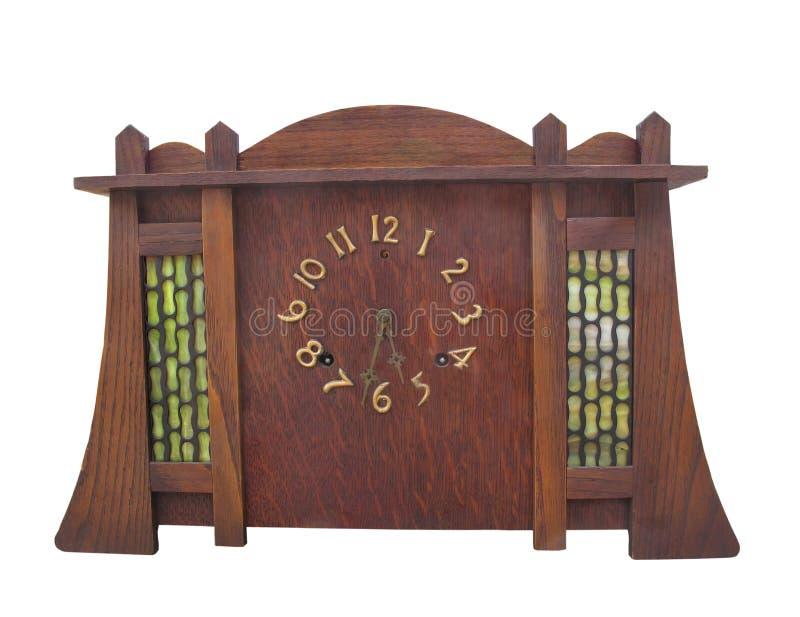 Antykwarskie sztuki i odizolowywający stołowy rzemiosło zegar. obrazy royalty free
