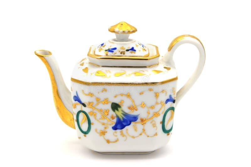 Antykwarskiego biedermeier czasu kawowy garnek na białym odosobnionym tle obraz royalty free