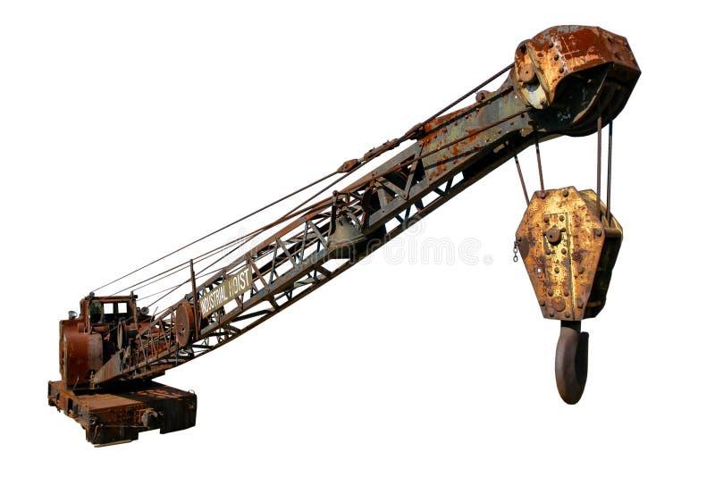 antykwarskiego dźwigowego dźwignika przemysłowy odosobniony biel zdjęcia stock