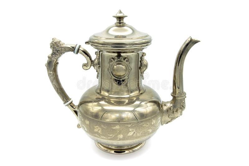 Antykwarskiego metalu kawowy garnek na białym tle obraz stock