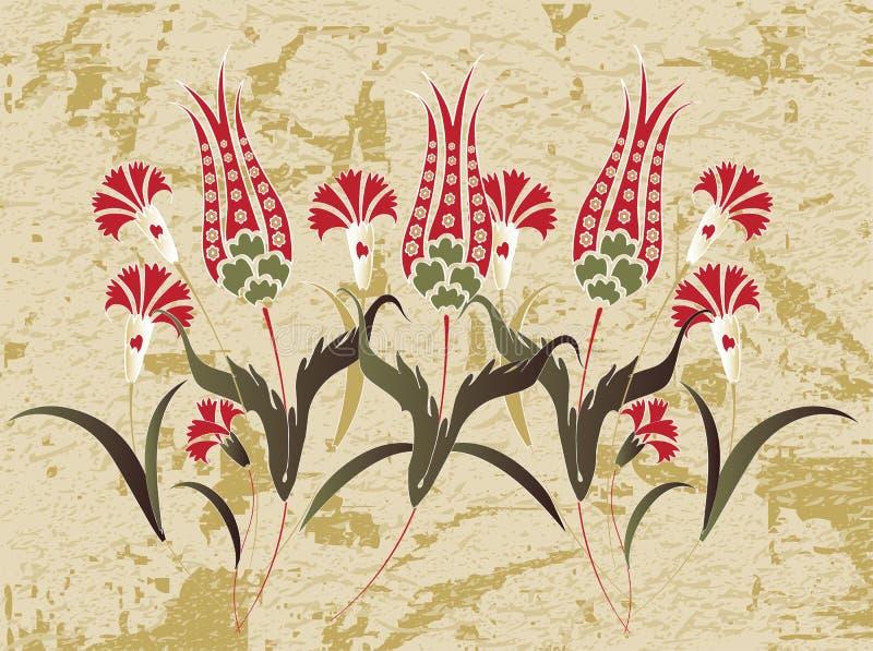 antykwarskiego projekta antykwarska ottoman rater tapeta ilustracja wektor