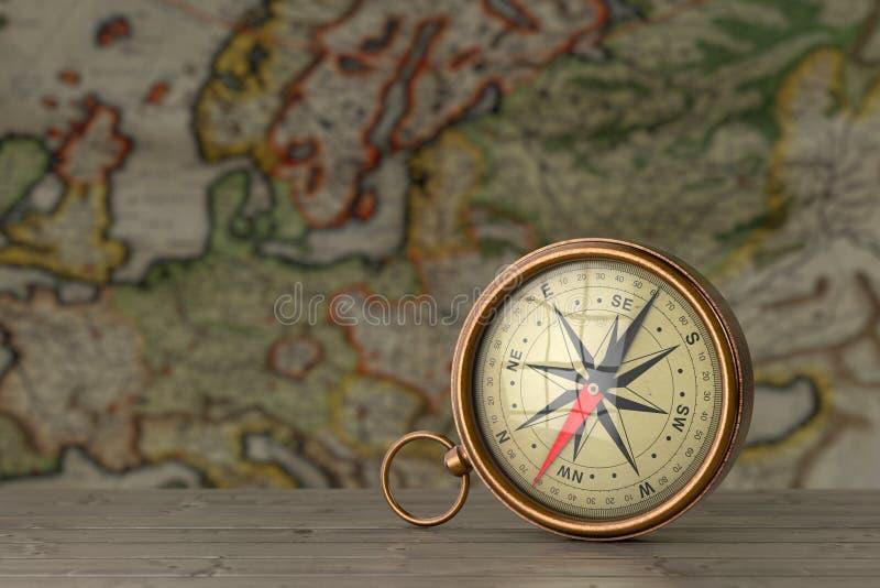 Antykwarskiego rocznika Mosiężny kompas na Drewnianym stole przed Antykwarską mapą świadczenia 3 d obrazy royalty free