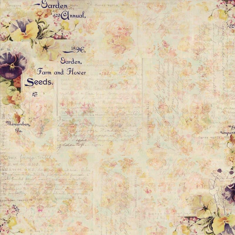 Antykwarskiego rocznika stylu botaniczny kwiecisty obramiający tło royalty ilustracja