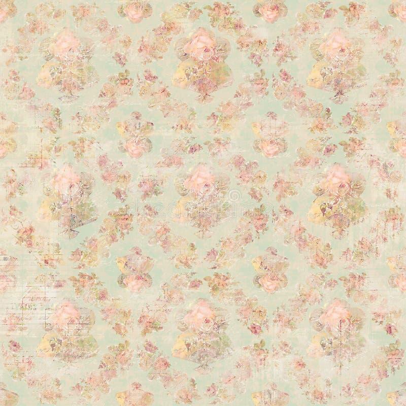 Antykwarskiego rocznika stylu róż botaniczny różowy kwiecisty tło ilustracja wektor