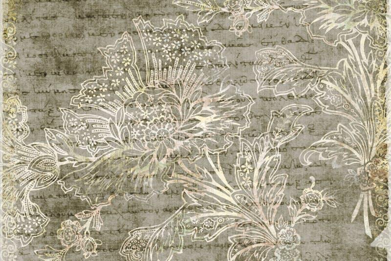 antykwarskiego tła kwiecisty grungy ilustracja wektor