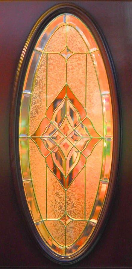 Antykwarskiej art deco stylu owalnej plamy szklany okno, geometryczny projekt obraz stock
