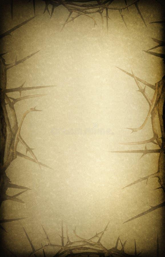 Antykwarskiej bieliźnianej tekstury Wielkanocny tło z koroną ciernie fotografia royalty free