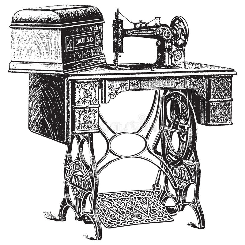 antykwarskiej ilustraci maszynowy szwalny wektor ilustracja wektor