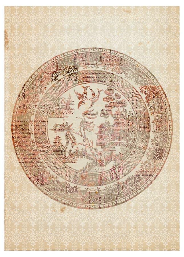 antykwarskiej sztuki chińska dekoracyjna półkowa rocznika ściana ilustracja wektor