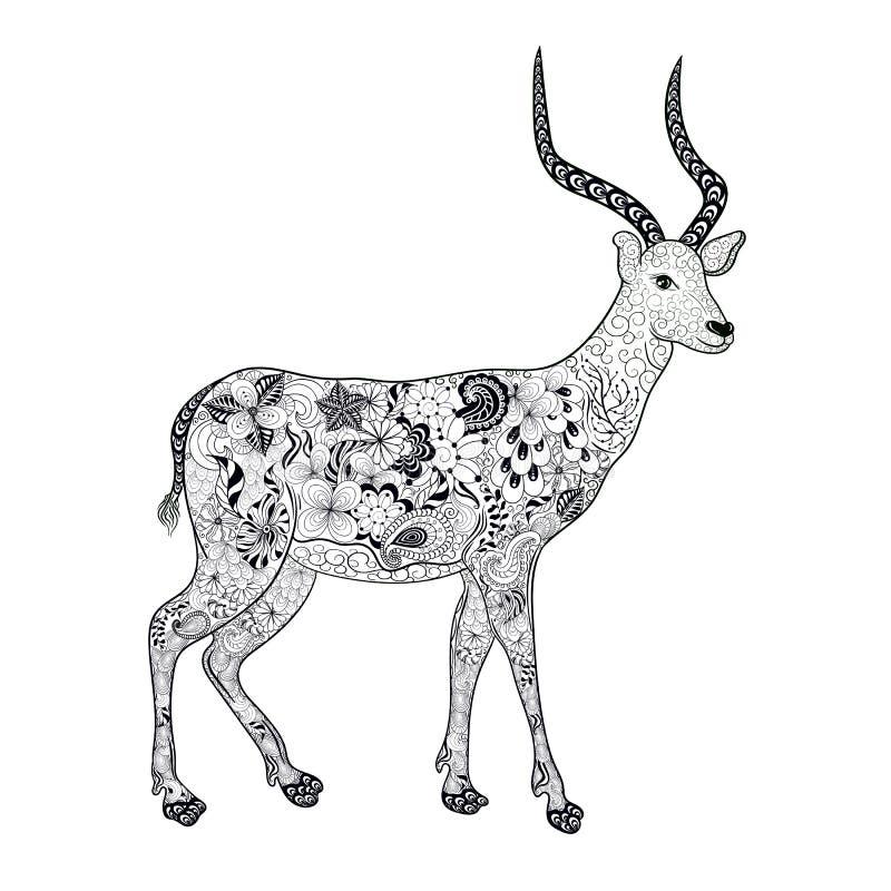 Download Antylopy doodle ilustracja wektor. Ilustracja złożonej z dekoracje - 65225767