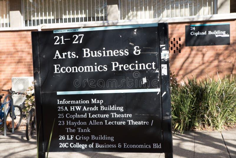 ANU arts, business and economics precint sign royalty free stock image