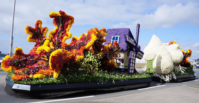 Annual flower parade, Holland. The traditional flower parade near Lisse and Hillegom in the Netherlands. Locally known as the flower corso royalty free stock photo