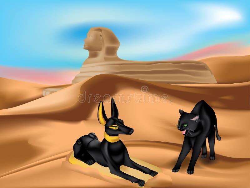 Anubi et chat illustration libre de droits