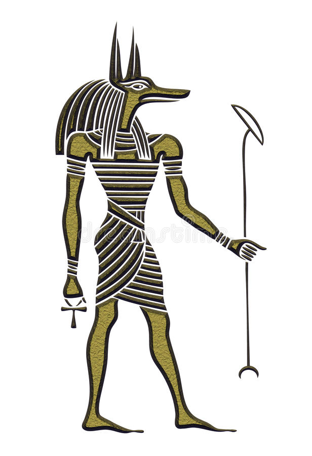 Anubis – God of ancient Egypt. God of funerals, death, the dead and the afterlife stock illustration