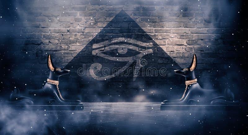 Anubis бога древнего египета смерти Темная абстрактная египетская предпосылка иллюстрация вектора