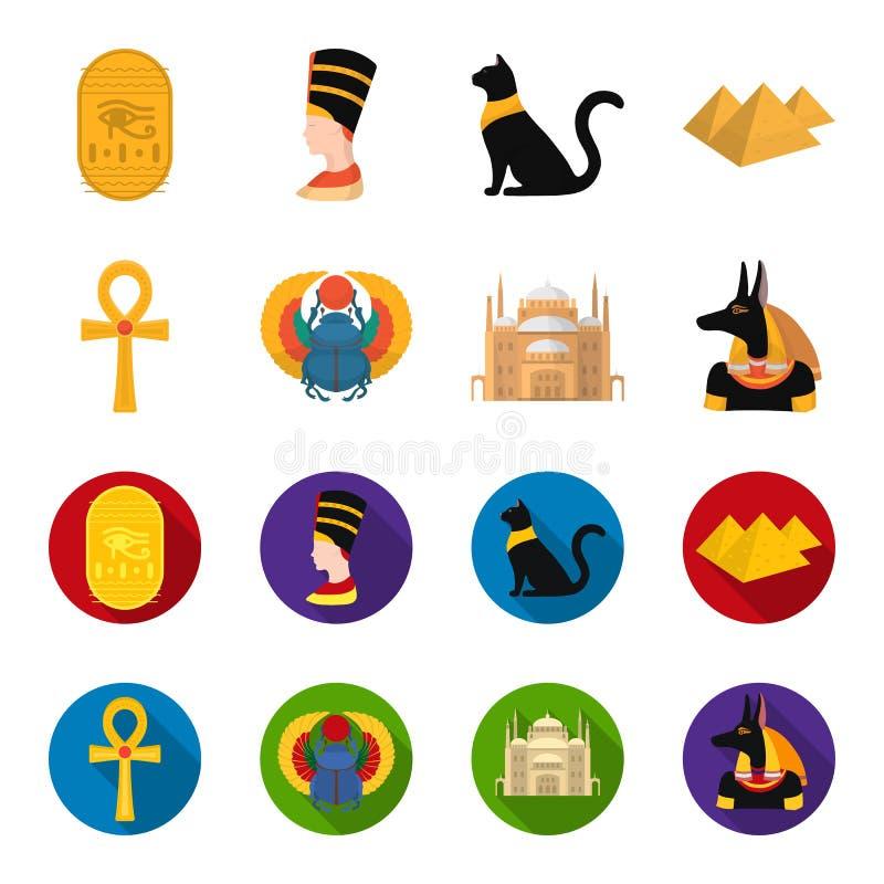 Anubis, Ankh, citadela do Cairo, besouro egípcio Ícones ajustados antigos da coleção de Egito nos desenhos animados, símbolo liso ilustração do vetor