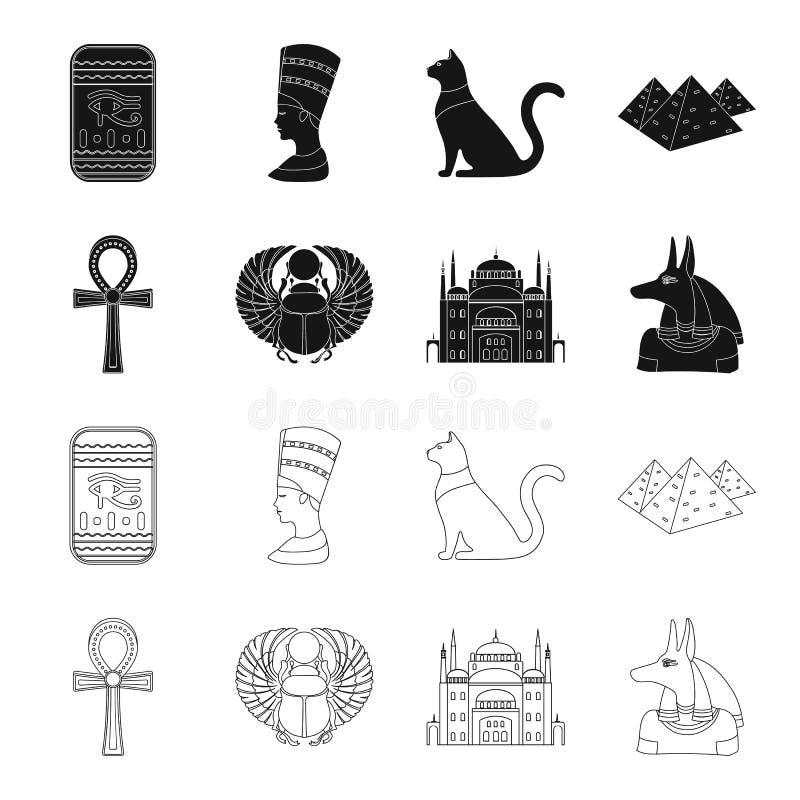 Anubis, Ankh, Kair cytadela, Egipska ściga Antyczne Egipt ustalone inkasowe ikony w czerni, konturu stylowy wektorowy symbol ilustracji