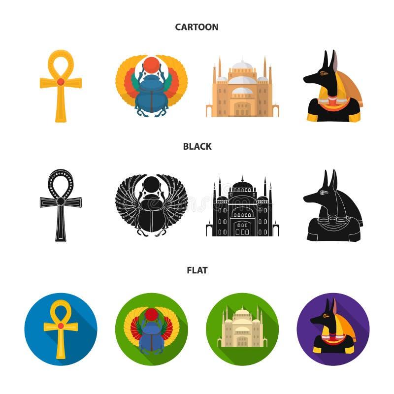 Anubis, Ankh, Kair cytadela, Egipska ściga Antyczne Egipt ustalone inkasowe ikony w kreskówce, czerń, mieszkanie stylowy wektor royalty ilustracja