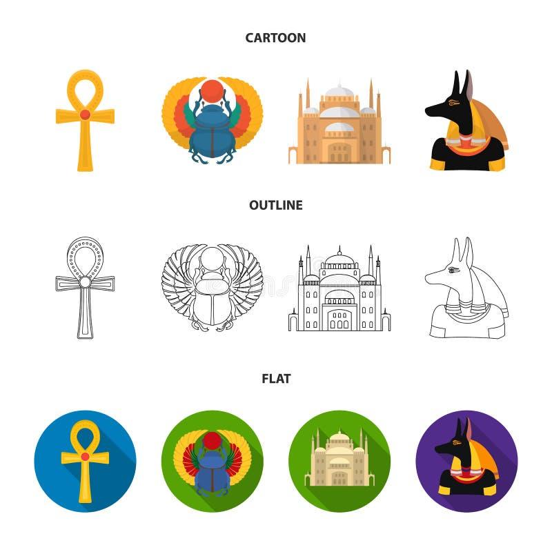Anubis, Ankh, Kair cytadela, Egipska ściga Antyczne Egipt ustalone inkasowe ikony w kreskówce, kontur, mieszkanie stylowy wektor royalty ilustracja