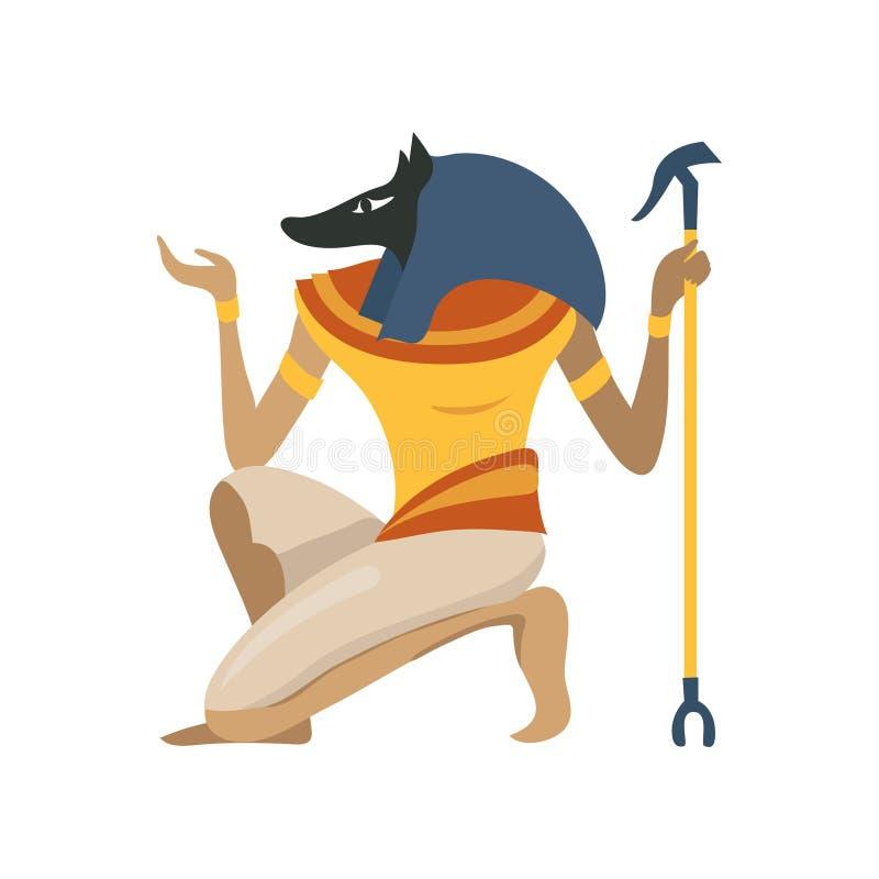 Anubis, antyczny Egipski bóg, symbol tradycyjna Egipska kultury kreskówki wektoru ilustracja ilustracja wektor