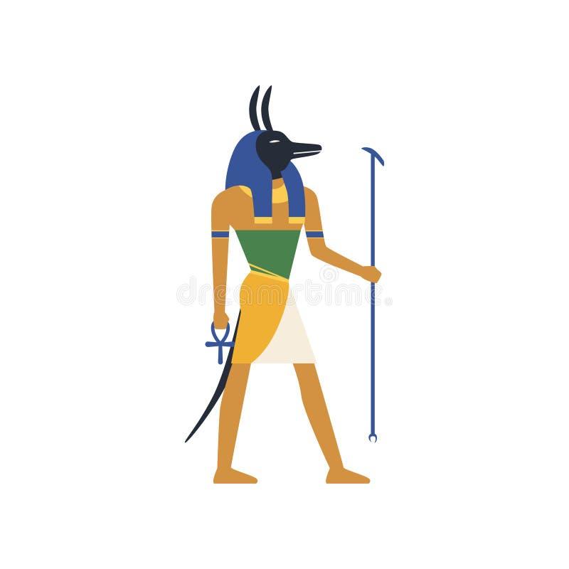 Anubis bóg śmierć, Egipska antyczna kultura wektoru ilustracja ilustracja wektor